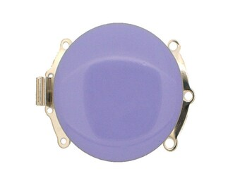 Three-Strand Round Enamel Box Clasp in Two Colors - Lilac and Green, Rhodium Finish, 25mm