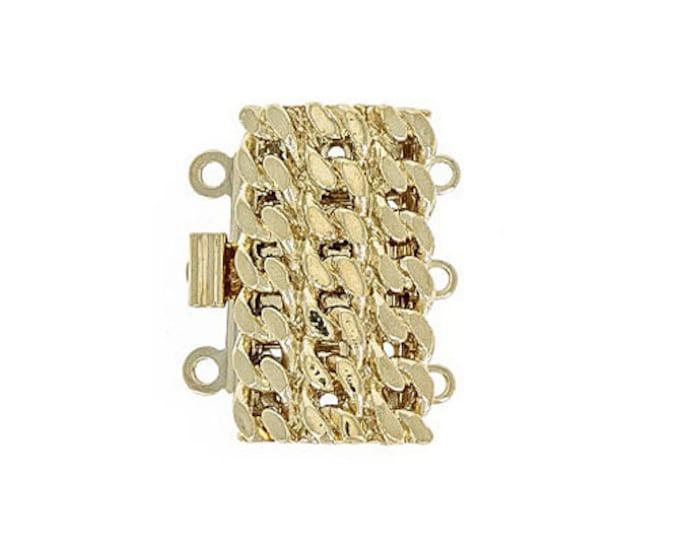 Three-Strand Rope Box Clasp in Gold or Rhodium Finish, 12x20mm