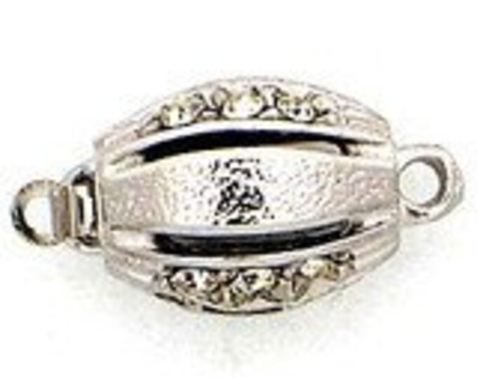 One-Strand Oval Sterling Silver or Light Gold Box Clasp with Swarovski Crystals, 11x8mm
