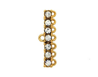 7:1 Strand Reducers in Gold or Rhodium Finish with Swarovski Crystals, 23x3mm