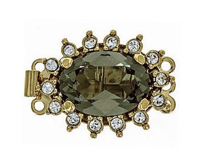 Three-Strand Oval Black Diamond Swarovski Crystal Box Clasp in Two Finishes, 21x16mm