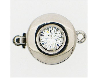 Round One-Strand Clasp with Swarovski Crystal Center in Two Crystal Colors, Clear or Black Diamond, Rhodium Finish, 12mm