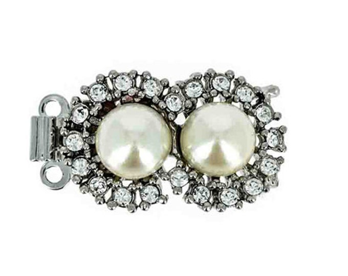 Two-Strand Double Pearl Necklace Clasp with Swarovski Crystals in Gold or Rhodium Finish, 12x23mm