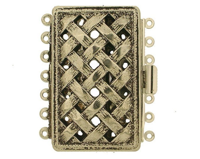 Seven-Strand Large Basket Weave Bracelet Clasps in Two Antique Finishes, 40x25mm