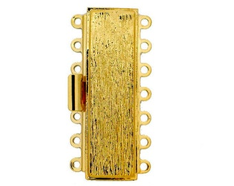 Seven-Strand Cuff Bracelet Box Clasp in Striated Gold or Rhodium Finish, 37.5x11mm