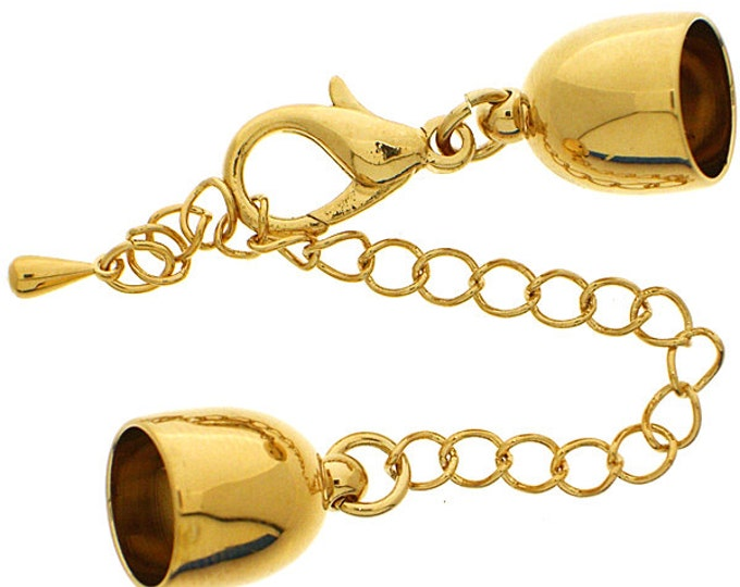 Lobster Clasp Bullet-Shaped End Cap for Kumihimo or Round Leather in Gold or Rhodium Finish with Chain Extender,  Inside Diameter 10mm