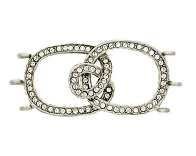 Three-Strand Hook and Eye Clasp in Gold or Rhodium Finish with Swarovski Crystals, 42x20mm
