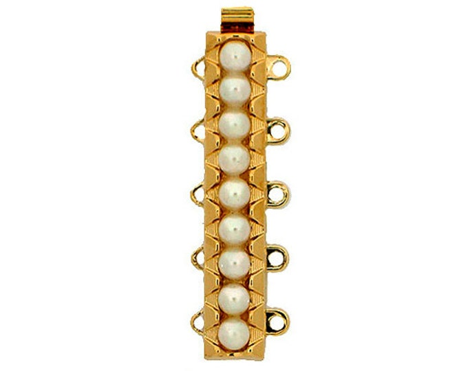 Five-Strand Slider Bracelet Clasp with Pearls in Rhodium or Gold Finish, 32x6mm