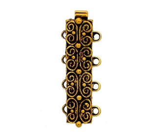 Four-Strand Scroll-Patterned Slider Bracelet Clasp in Antique Gold or Silver Finish, 25x7mm