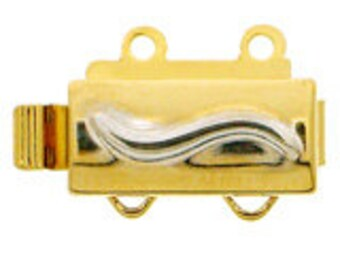 Two-Strand Mixed-Metal Slider Clasp, 13x6mm