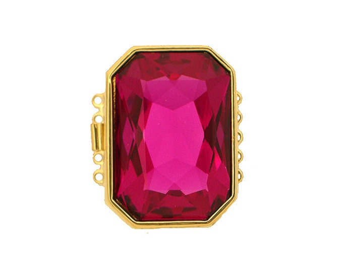 Five-Strand Fuchsia Swarovski Crystal Octagonal Clasp in Gold Finish, 30x22mm