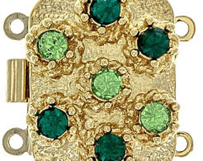 Two-Strand  Clasp with Emerald and Peridot Swarovski Crystals in Gold Finish, 19x15mm