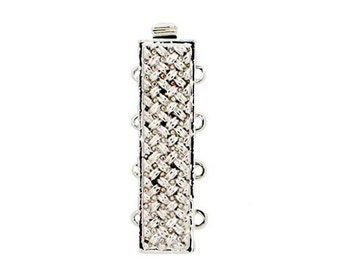 Four-Strand Basket Weave Slider Clasp in Gold or Rhodium Finish, 27x7mm