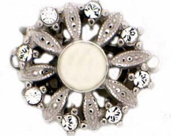 One-Strand Daisy-Shaped Sterling Silver or Light Gold Pearl Clasp with Center Pearl and Swarovski Crystal Petals, 14mm