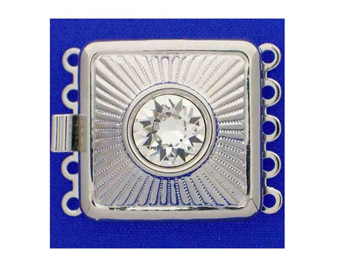 Five-Strand Square Box Clasp in Gold or Rhodium Finish with Swarovski Crystal Center,  21x21mm