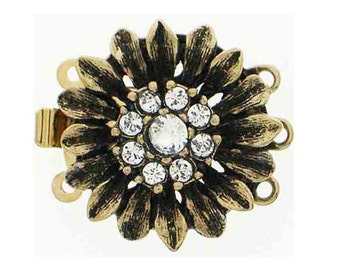 """Vintage-Look Three Strand """"Daisy"""" Clasps in Two Antique Finishes with Swarovski Crystals, 17mm"""