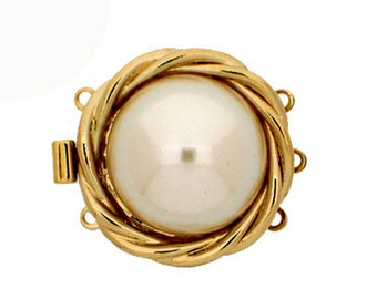 Three-Strand Pearl Necklace Clasp with a Large Pearl Nestled in a Basket of Rhodium or Gold, 21mm