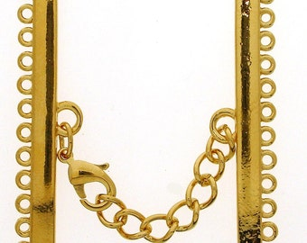 Twelve-Strand Lobster Clasp in Gold or Rhodium Finish with Extension Chain, 45mm