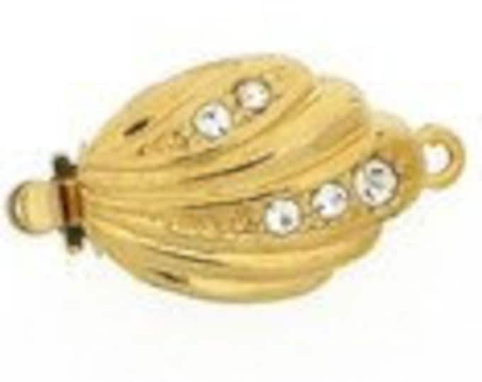 One-Strand Retro Double-Sided Stylized Leaf Box Clasp in Gold or Rhodium Finish with Swarovski Crystals, 15x11mm