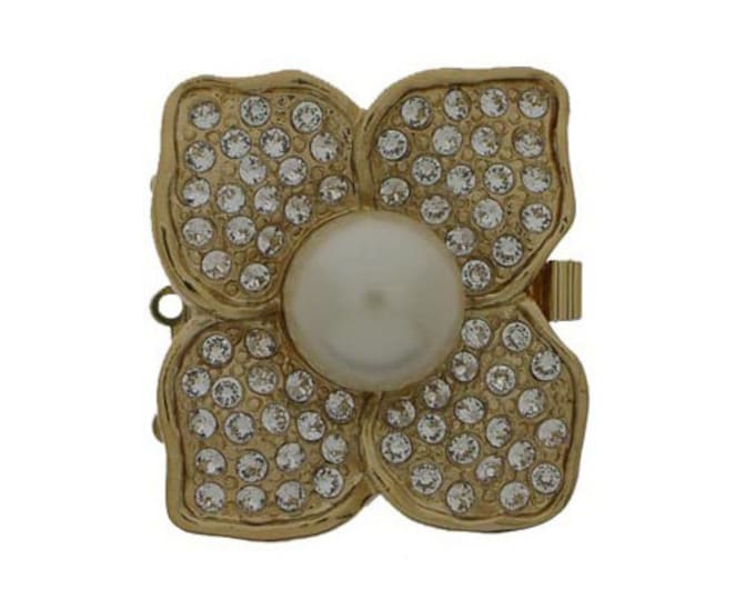 Large, Three-Strand Square Stylized Flower Clasp in Gold or Rhodium Finish with 12mm Cream Pearl in Center, 30x30mm