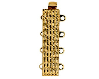 Four-Strand Slider Clasp in Patterned Gold or Rhodium Finish, 6x24mm