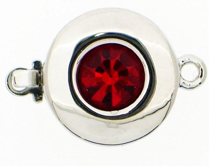 One-Strand Round Clasp with Swarovski Crystal Center in Three Reds, Rhodium Finish, 12mm