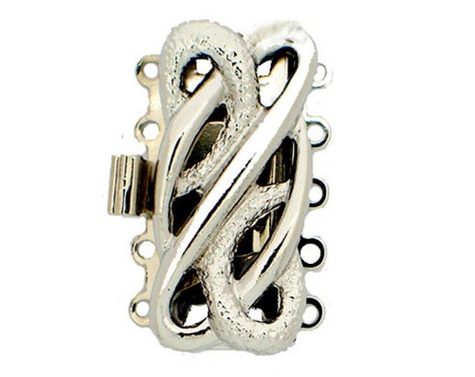 Five-Strand Open-Work Cuff Bracelet Clasp in Rhodium or Gold Finish, 25x12mm