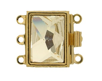 Rectangular Three-Strand Wedding-Perfect Box Clasp with Large Faceted Crystal in Gold or Rhodium Finsish, 17x12.5mm