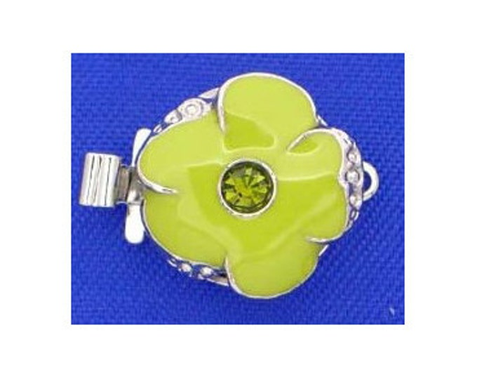 Small One-Strand Olivine Enamel Flower Clasps with Swarovski Crystal Centers in Rhodium Finish, 13mm