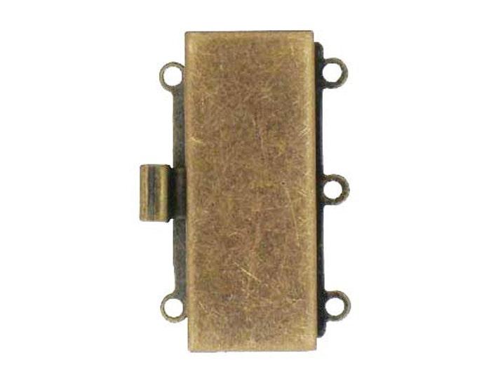 Three-Strand Rectangular Box Clasp in Antique Brass, 25x10mm