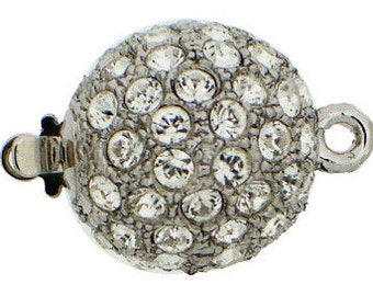 Medium, One-Strand Swarovski Crystal-Studded Ball Box Clasp in Rhodium or Gold, 14mm