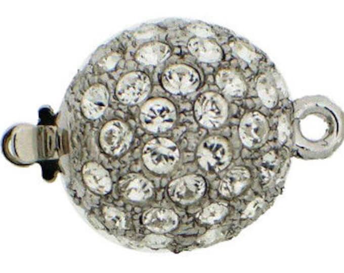 Medium, One-Strand Swarovski Crystal-Studded Ball Box Clasp in Rhodium or Gold, 14mm