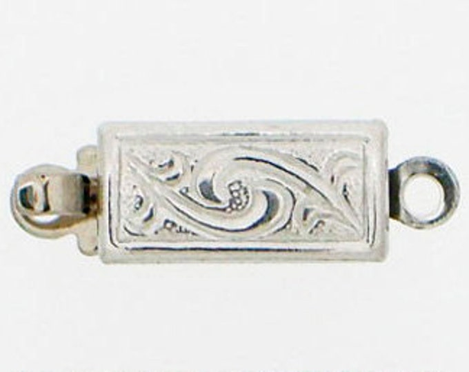 Small One-Strand Leaf-Patterned Sterling Silver Box Clasp, 10x5mm