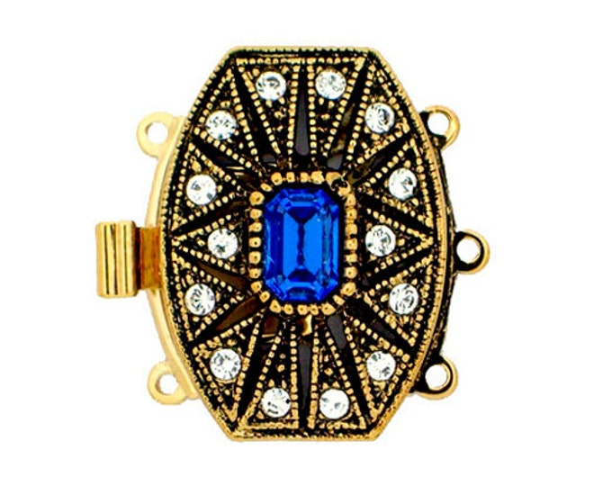 Art Deco Three-Strand Clasp with Sapphire Swarovski Crystal in Antique Gold, 22x16mm