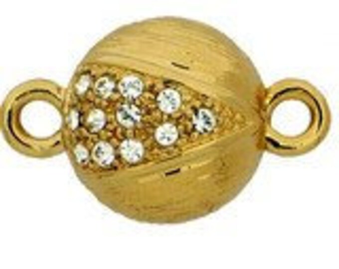 Round, One-Strand Double-Sided Magnetic Clasp in Gold or Rhodium Finish, 12mm