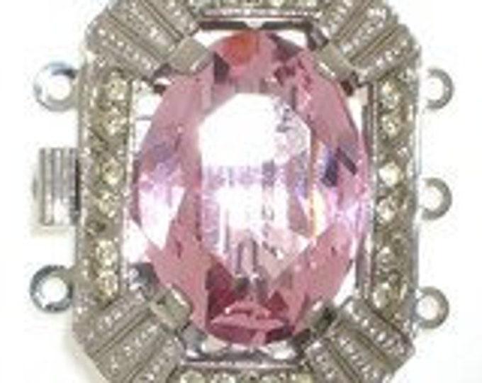 Three-Strand Box Clasp with Large Center Swarovski Crystal in Six Colors, Rhodium Finish, 26.5x20mm