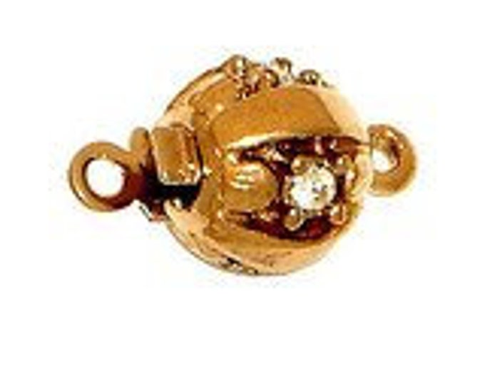 Small, One-Strand Textured Ball Box Clasp with Swarovski Crystals in Rhodium or Gold Finish, 8mm