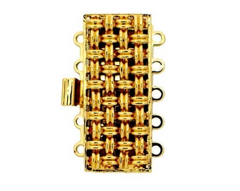 Five-Strand Basket Weave Clasp in Gold or Rhodium Finish, 26x11mm