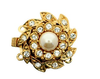 Two-Strand Pearl Necklace Clasp With Center Pearl and Two Outer Layers of Swarovski Crystals in Gold or Rhodium, 18mm
