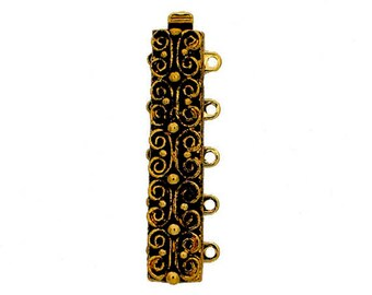 Five-Strand Scroll-Patterned Slider Bracelet Clasp in Antique Gold or Silver Finish, 31x7mm