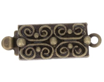 One-Strand Scroll-Patterned Box Clasp in Antique Brass, 13x6mm