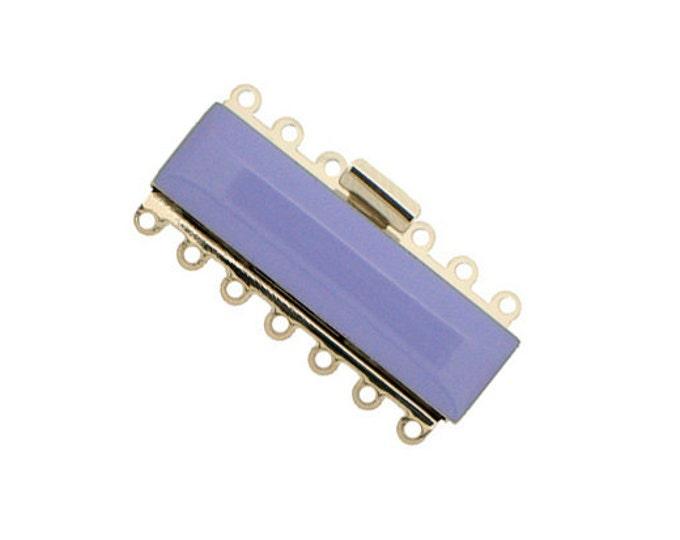 Seven-Strand Enamel Cuff Bracelet Clasp in Lilac, Rhodium Finish, 37x10mm