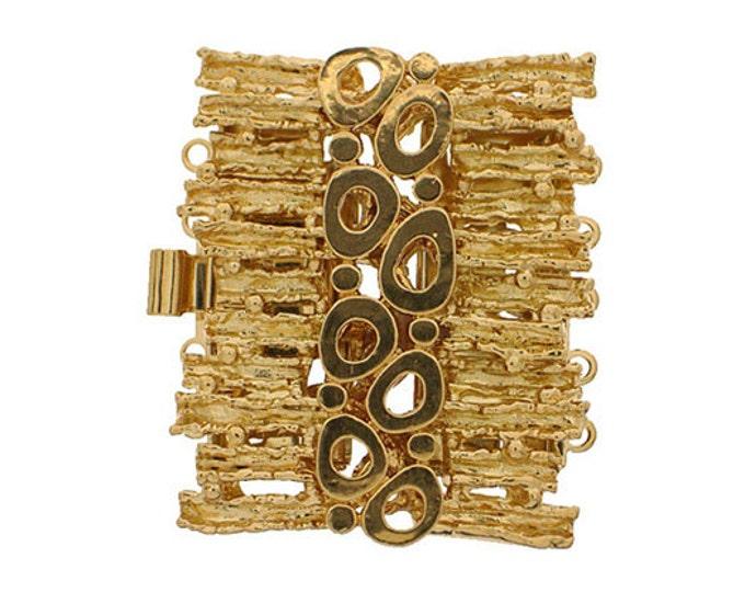 Five-Strand Organic-Boho Cuff Bracelet Clasp in Gold, 32x28mm