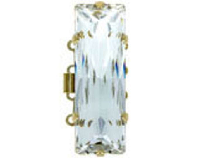 Large, Four-Strand Swarovski Crystal Baguette Box Clasp in Gold or Rhodium Finish, 31x10mm