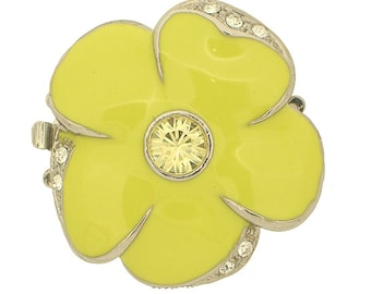 Large Three-Strand Enamel Flower Clasp in Green or Yellow with Swarovski Crystal Center, 31mm