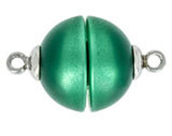 14mm Polaris Magnetic Clasps with Rhodium End Caps in Two Greens, Two Finishes