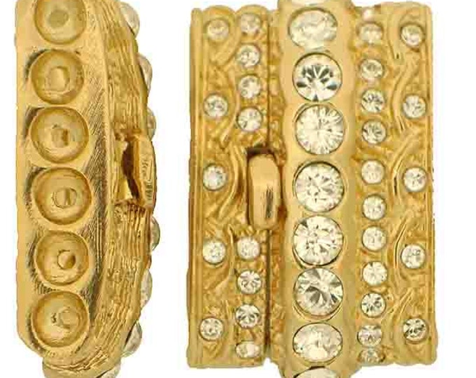 Six-Strand Push Button Box Clasp with Hidden Attachment in Gold with Swarovski Crystals, 29x18mm