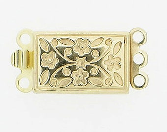 Floral-Patterned Three-Strand Clasp in Sterling Silver with Light Gold Finish, 16x9mm