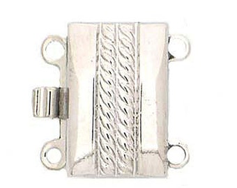 Two-Strand Box Clasp with Center Rope Detailing in Sterling Silver or Light Gold, 13x8.5mm