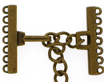 Narrow Seven-Strand Hook and Eye Clasp in Two Dark Finishes - Black Copper and Antique Brass, 23mm